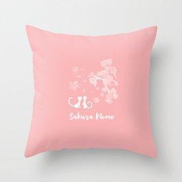 Sakura Cats Throw Pillow