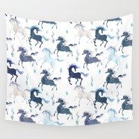 unicorns Wall Tapestries featuring Unicorns Pattern by Sumi Illustrator
