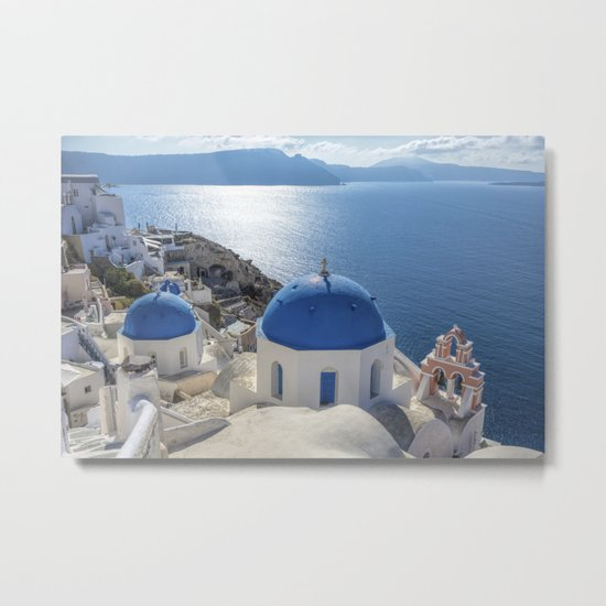 Santorini Island with churches and sea view in Greece Metal Print