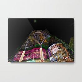Christmas Glimmering Shopping Mall With Moon Metal Print