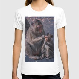 Mother and Baby Macaque Monkey T-shirt