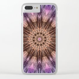 Purple crocus mandala Clear iPhone Case