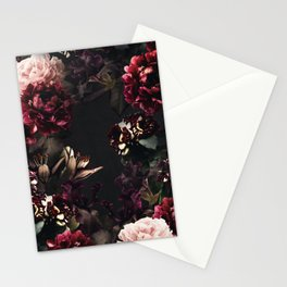 Vintage bouquets of garden flowers. Roses, dark red and pink peony.  Stationery Cards