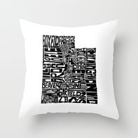 utah Throw Pillows featuring Typographic Utah by CAPow!
