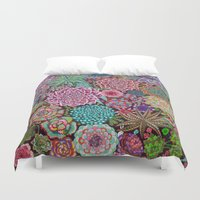 succulents Duvet Covers featuring Succulents by gwolly