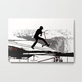 Airborne Scooter Boy - Stunt Scooter Rider Metal Print