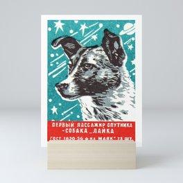 1950s Laika Space Dog Russian Matchbox Label Mini Art Print