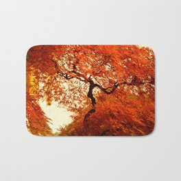 VIBRANT ORANGE JAPANESE FALL MAPLE TREE Bath Mat