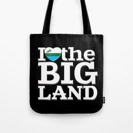 I Heart the Big Land (on black) Tote Bag