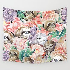 Because Sloths Watercolor Wall Tapestry