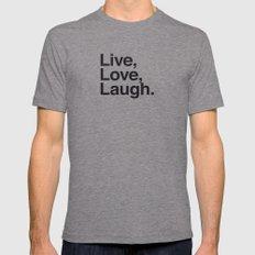 Live Love Laugh MEDIUM Tri-Grey Mens Fitted Tee