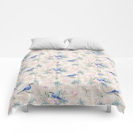 Chic Watercolour Blue Jay Spring Flowers Comforters