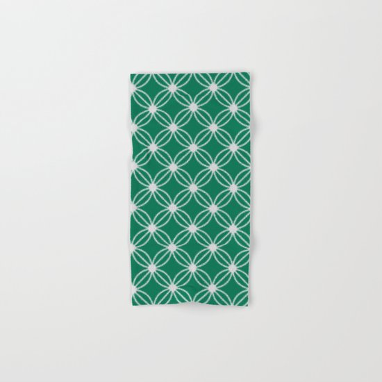 Abstract Circle Dots Green Hand & Bath Towel