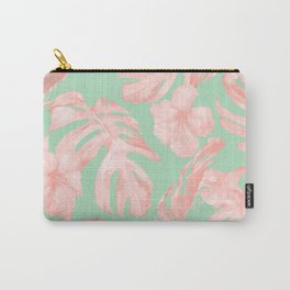 Tropical Palm Leaves Hibiscus Pink Mint Green Carry-All Pouch
