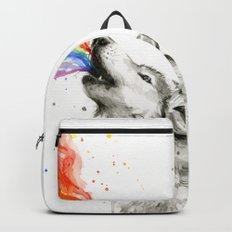 Wolf Rainbow Watercolor Howling Animal Whimsical Animals Backpacks