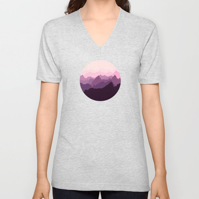 Mountains in Pink Fog Unisex V-Neck