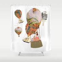 hot air balloon Shower Curtains featuring Hot Air Balloon Dream by KarenHarveyCox