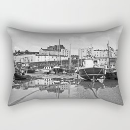 Tenby Harbour Boats.Pembrokeshire.B+W. Rectangular Pillow