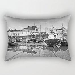 Tenby Harbour Boats.Pembrokeshire.B+W. Rectangular Pillow