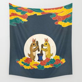 Minhwa: Moon Rabbit B Type (Korean traditional/folk art) Wall Tapestry