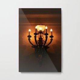 Orange and Black Lit Light Illuminated Montreal Wall Sconce Metal Print