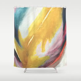 Ambition: a colorful abstract piece in bold yellow, blue, pink, red, and gold Shower Curtain