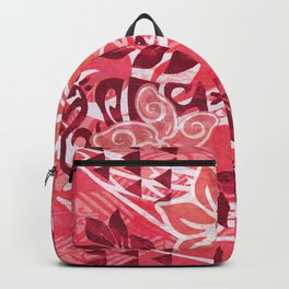 Red Hibiscus Polynesian Tapa Backpack