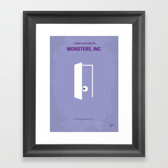 No161 My Monster Inc minimal movie poster Framed Art Print