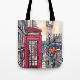 Rainy day in London ink & watercolor illustration Tote Bag