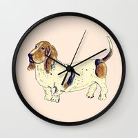 the hound Wall Clocks featuring Basset Hound by Rebecca Mcmillan