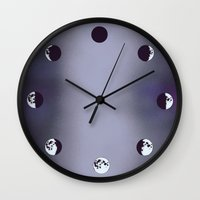 moon phases Wall Clocks featuring Moon Phases by Rebel June