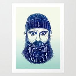 CALM SEAS NEVER MADE A SKILLED (Blue) Art Print
