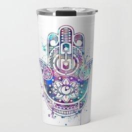 Hamsa Hand Colorful Watercolor Travel Mug