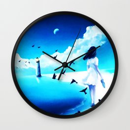 Lighthouse At The Sea Wall Clock