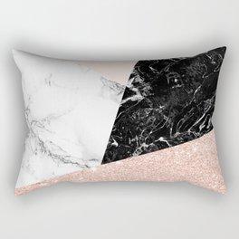 Black white marble blush pink rose gold glitter color block Rectangular Pillow