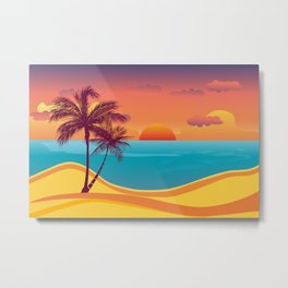 Tropical Beach Sunset Metal Print