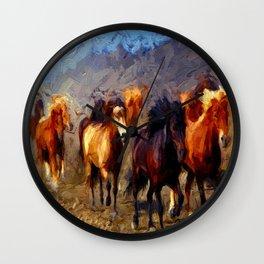 Wild Horses II Wall Clock