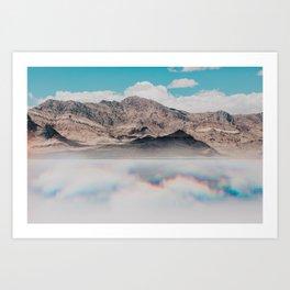 Mirage at the Bonneville Salt Falts   Utah Mountains Art Print
