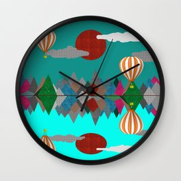Hot Air Balloons Over Fabric Mountains Wall Clock