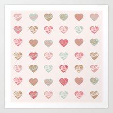 AFE Pastel Hearts Pattern Art Print