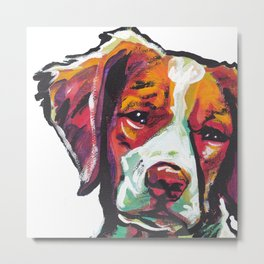 Fun Brittany Dog Portrait bright colorful Pop Art Painting by LEA Metal Print