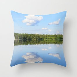 Sky reflects from still lake at summer day Throw Pillow