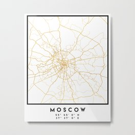 MOSCOW RUSSIA CITY STREET MAP ART Metal Print
