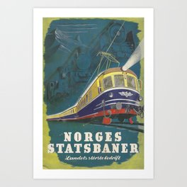 old poster Norges Statsbaner Art Print