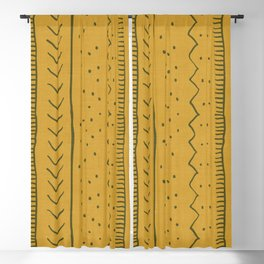 Moroccan Stripe in Mustard Yellow Blackout Curtain
