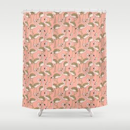 Flamingo Family // Peach Shower Curtain