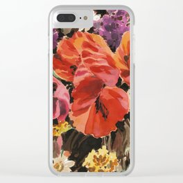 Fashion Textail Floral Print Design, Wildflower Flower Bouquet Allover Pattern Clear iPhone Case