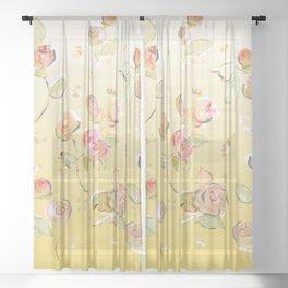 yellow tea rose buds Sheer Curtain