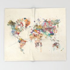 world map watercolour Throw Blanket