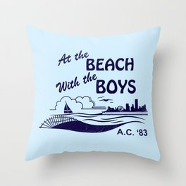 At the Beach with the Boys Throw Pillow